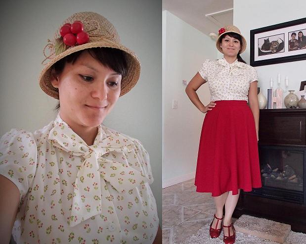 Retro cherries. Heart of Haute clothing. Rockabilly