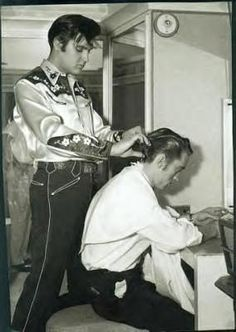 Elvis 1950s mens fashion. Elvis and Johnny Cash