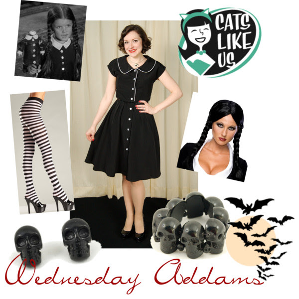 Retro Halloween costume. Gothabilly. Cats Like Us. Wednesday Addams. Everyday is Halloween
