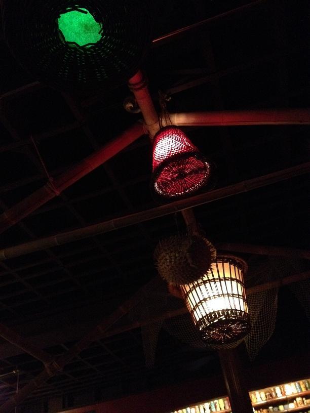 Porco Lounge and Tiki Room lanterns and blowfish lamp