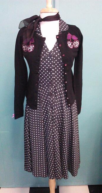 Hell Bunny 1940s charcoal polka dot dress