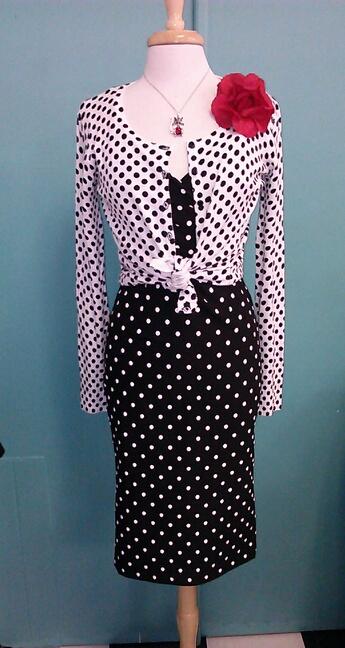 polka dot wiggle dress with sweater