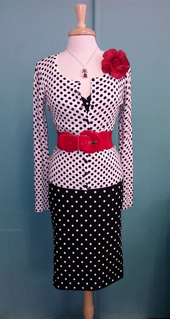 retro polka dot wiggle dress Steady Clothing