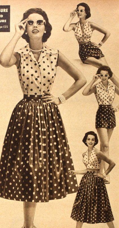 vintage polka dot clothing set
