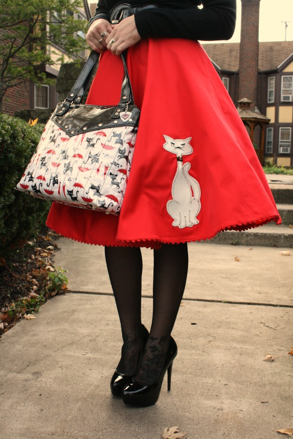 Red Kitty Proper Circle Skirt by Mode Merr. Swing skirt. Retro style