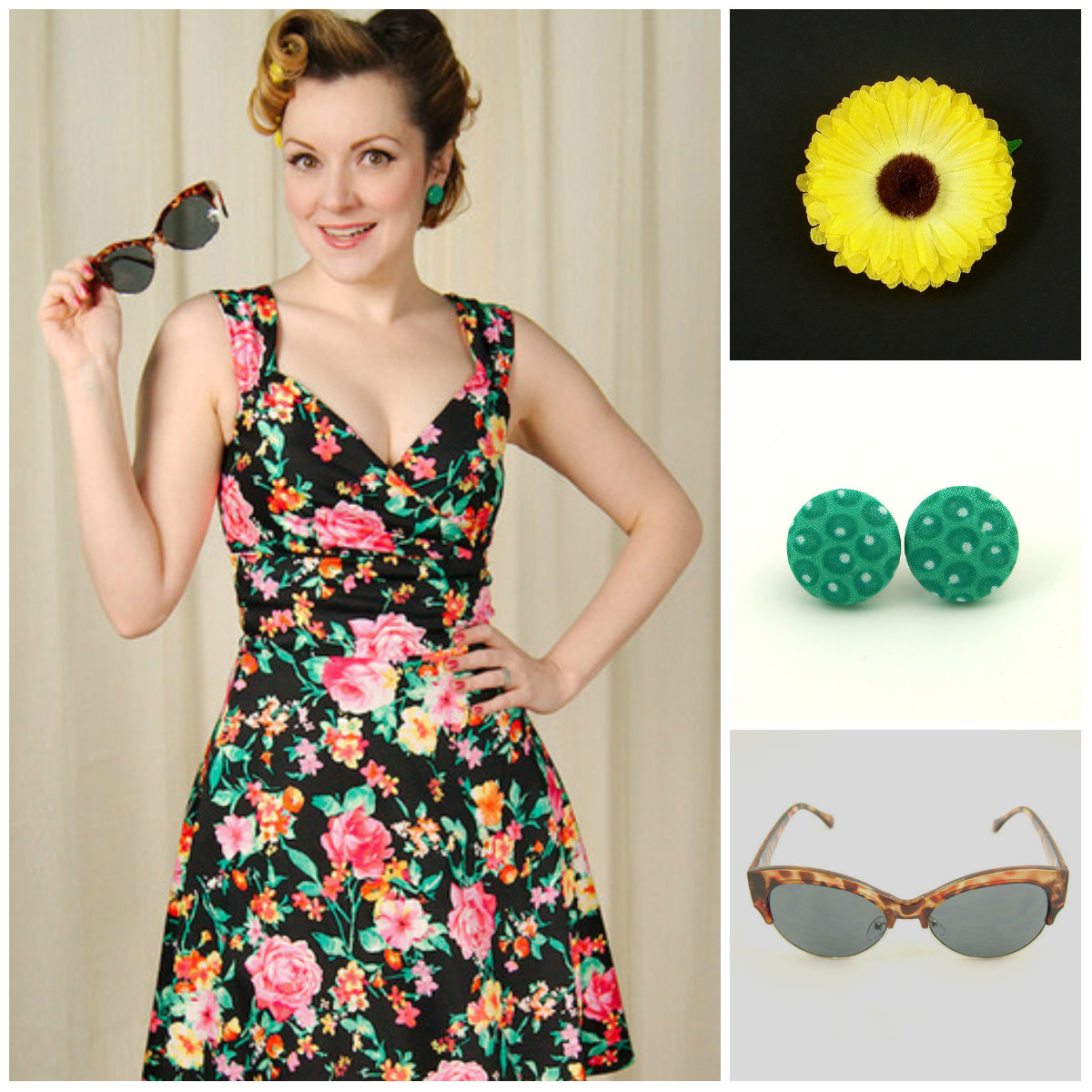 Secret Garden Swing dress by Steady Clothing styled with Yellow Mini Hair Flower, Green Olive Fabric earrings and Tort Mega Bucks sunglasses.