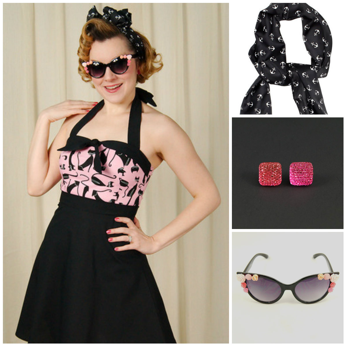 Cats on Pink Matey dress by Mode Merr paired with Bad Girl Anchor Scarf Sash, Pink Sparkle earrings and Lola Flowers cat eye sunglasses.