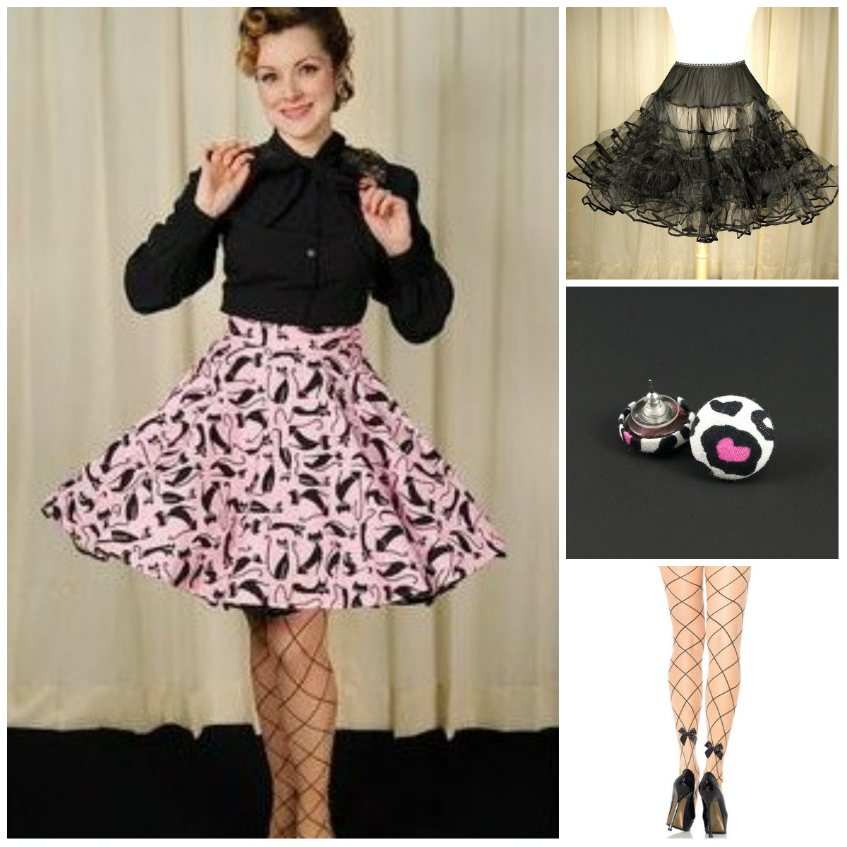 Cats on Pink Skirt by Heart of Haute paired with 1940s Darcia Gathered Blouse, Basic Black Crinoline, Leopard Heart Button earrings and Faux Jumbo Net Bow pantyhose