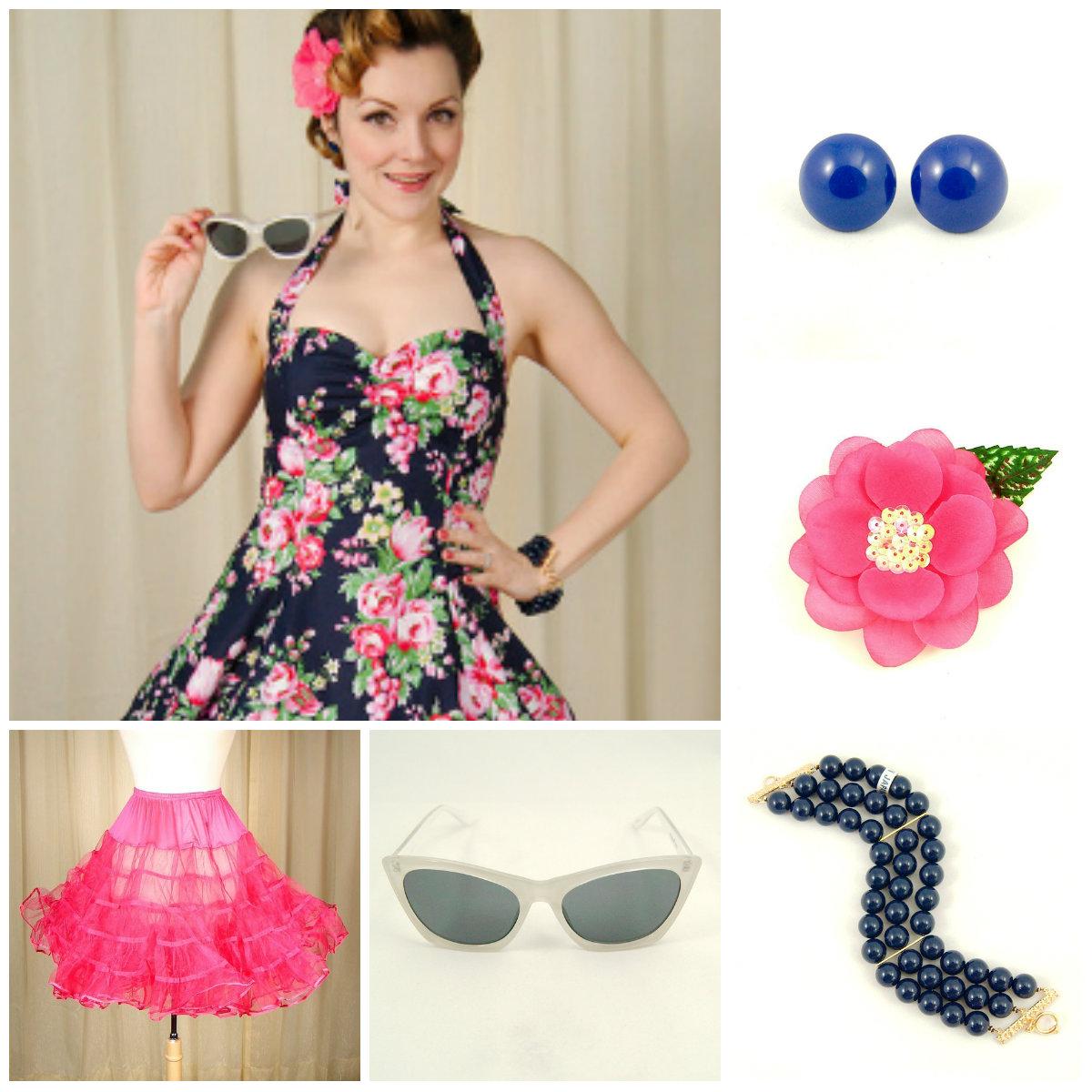 Midnight Rose Sweetie dress by Heart of Haute styled with Navy Jawbreaker Dot earrings, Hot Pink Sequin Hair Flower, Navy Triple Jet Set bracelet, White Melanie Cat sunglasses and Raspberry Crinoline.