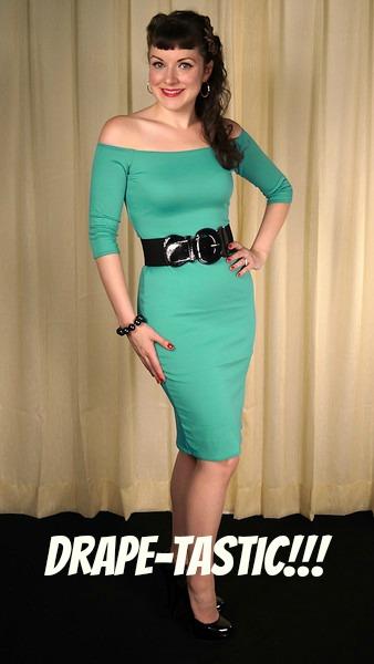 Mode Merr retro bad girl fashion Vamp dress in turquoise