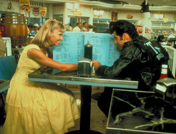 Retro movie fashion, Grease. Danny and Sandy. 1950s retro fashion