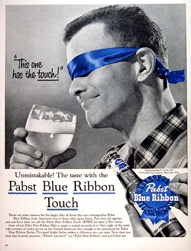 PBR Beer Advertiesement This one has the touch!