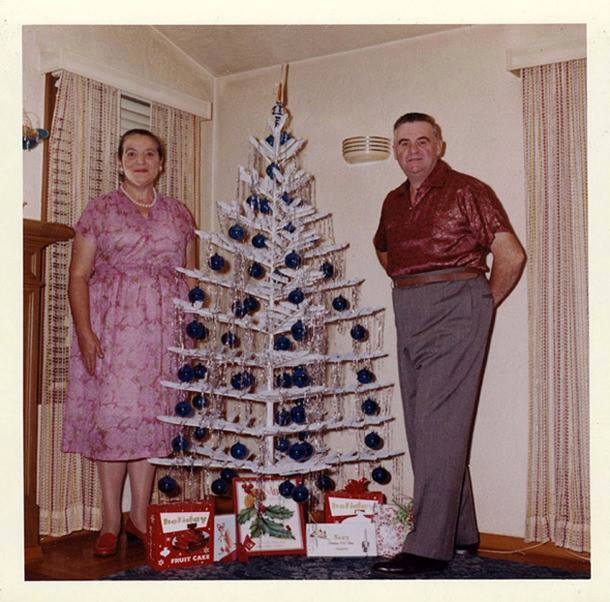 retro christmas white tree