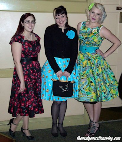 retro ladies in Cats Like Us at a swing dance