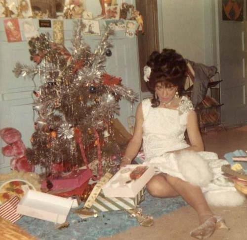 retro drunk christmas by the tree