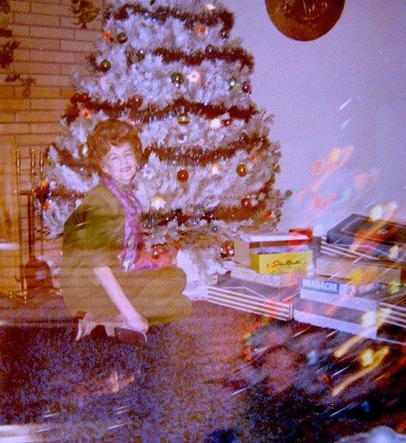 retro christmas photo by the tree