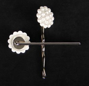 Peggy Pearl Bobby Pins by Its a Swindle can work double duty as they are not only lovely hair decor, yet they can really aid in holding the rolls into place.
