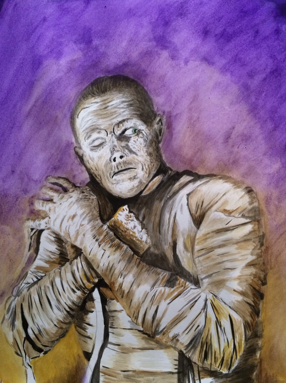 Lon Chaney Jr. as The Mummy. Painting by Monstermatt Patterson