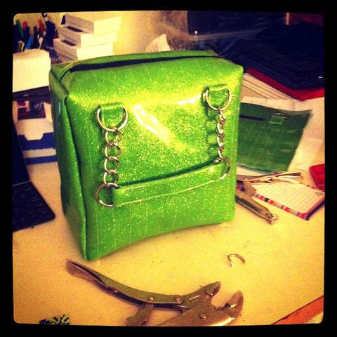 one tough chick handbag  car vinyl green