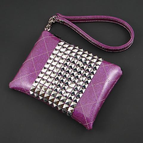 one tough chick handbag studded car vinyl purple