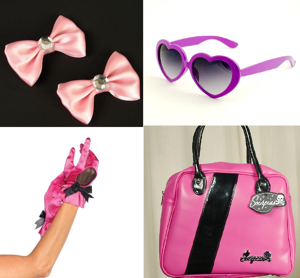 Sourpuss bowling bag, retro gloves, hairbows and heart glasses