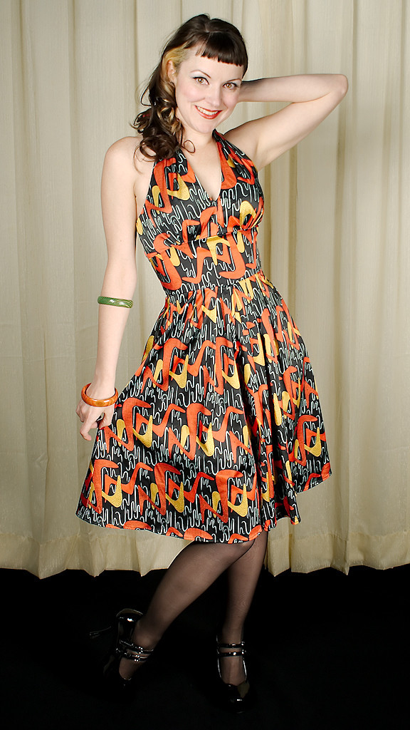 Boomerang Halter Swing Dress by Bettie Page Clothing