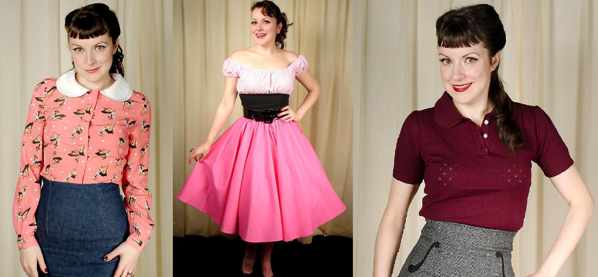 Gisela Bambi Blouse, Pink Full Circle Skirt, Freddy Knit Top