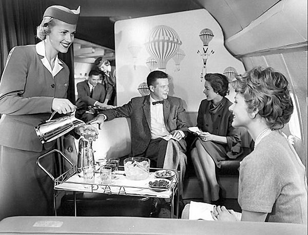 first class flying on pan am airlines in the 60s