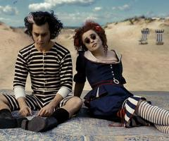 Johnny Depp and Helena Bonham Carter in Sweeney Todd.