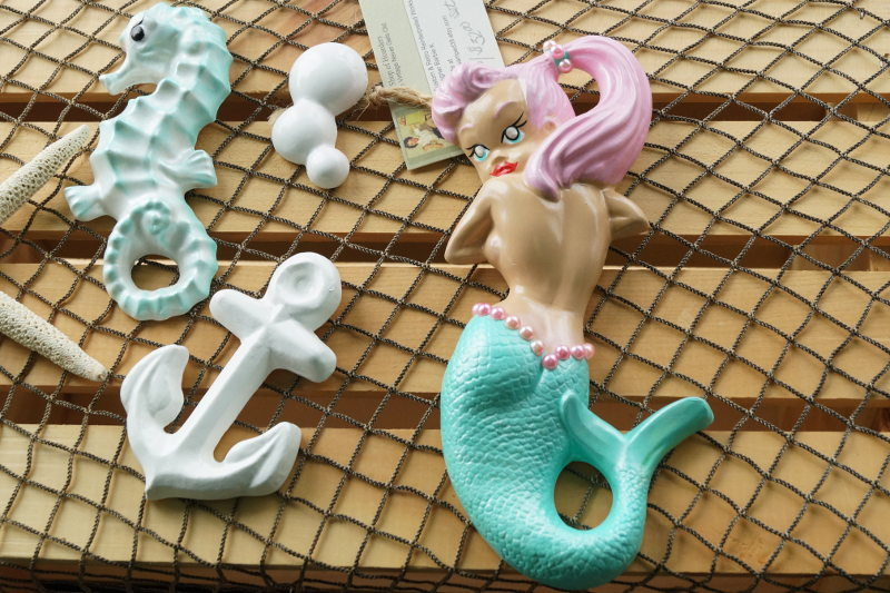 Retro chalk ware mermaids by BarbieK