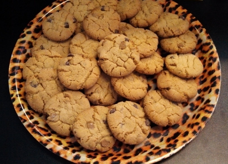 Chocolate Chip Peanutbutter cookies for the BarbieK chak ware event