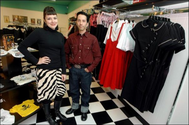 Andrew and Julie Ann in their retro style clothing store