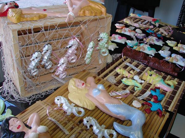 Beautiful vintage inspired chalk ware mermaids by Barbie K